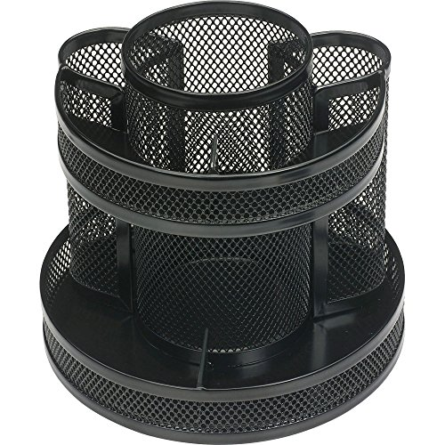 Business Source 62886 Rotary Organizer Mesh 6-5/8''x6-5/8 x6-5/8 Black by Business Source