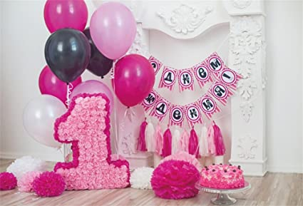 YongFoto 1,5x1m Vinilo Telon de Fondo Cumpleaños 1 año Hermosas Decoraciones Fondos Fotograficos Photo Booth Infantil Party Banner Niña Niño Photo ...