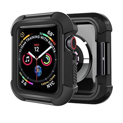Humenn Case Compatible with Apple Watch Series 5 Series 4 44mm, Rugged Protective Case Shockproof Protector Bumper Cover for iWatch Series 4,5 - Black