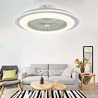 OUKANING Plafondventilator met verlichting en afstandsbediening, ronde lamp, onzichtbare ventilator, led-plafondlamp…