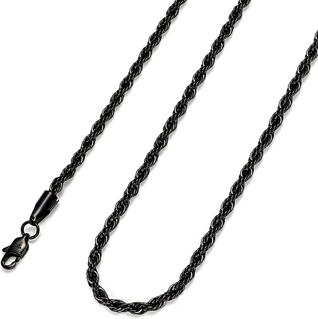 FIBO STEEL 4MM Stainless Steel Rope Chain Necklace for Men Women,16-36 inches