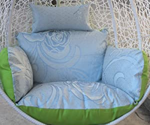 Reversible Cushion Swing Chair, Wicker Hanging Egg Rattan Chair Hammock Pad, Balcony Patio Garden-Without Stand-Green