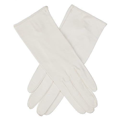 Lundorf Royal A, guantes blancos de gala para mujer en piel de cordero – 24 cm