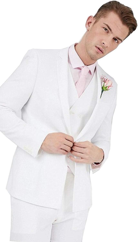 Slim Fit 3 Piece White Tuxedo Suit for Men One Button Casual//Formal//Wedding Tuxedo