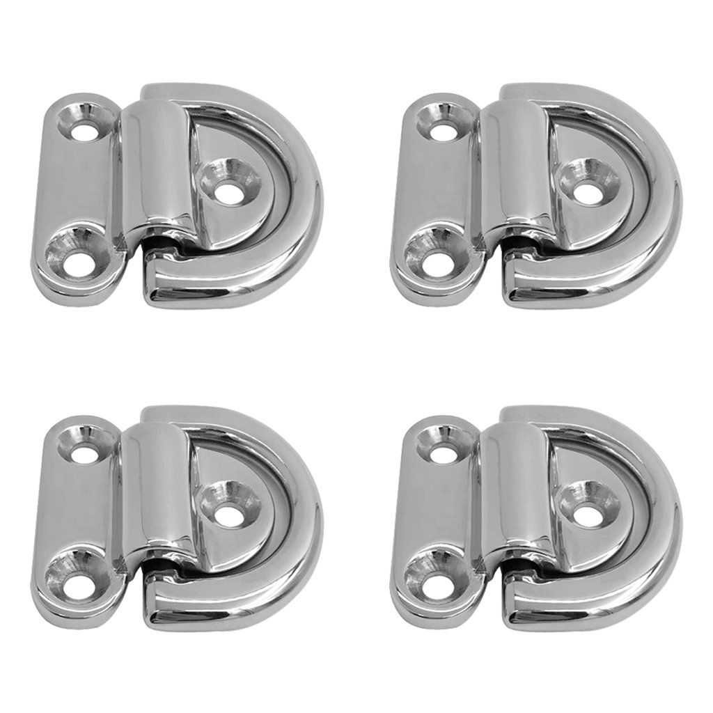 Homyl 4pcs Heavy Duty Folding D Ring Tie Down Lashing Point Anchor Fixing Cleat