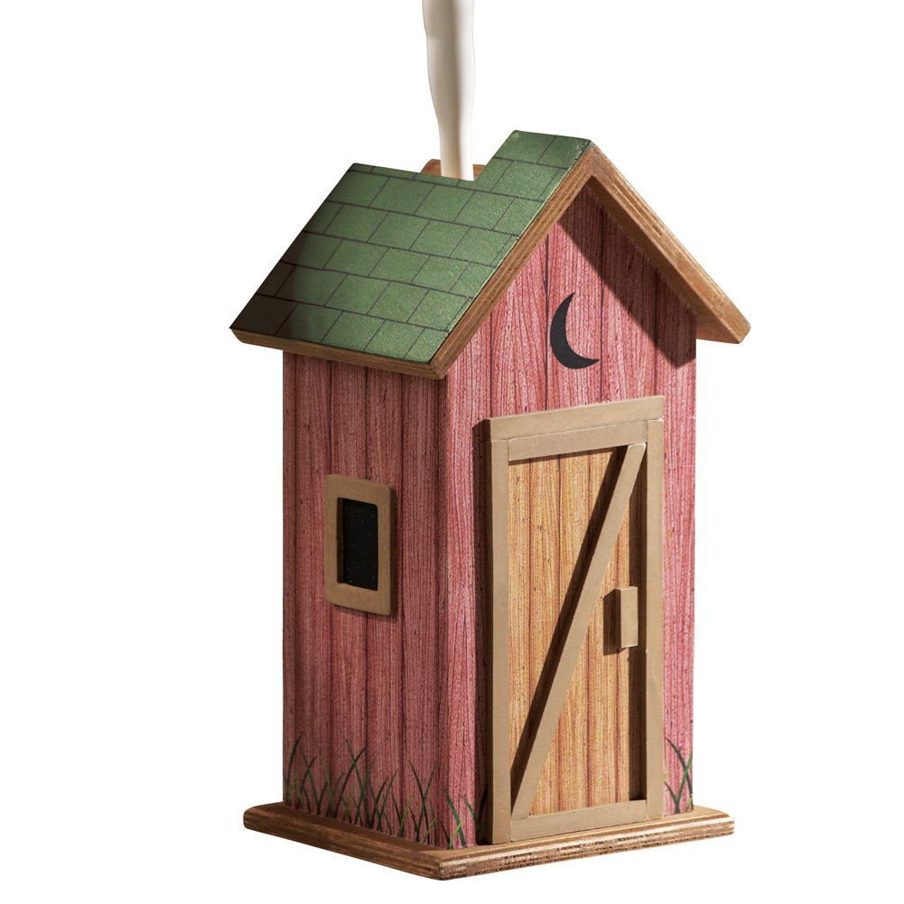 Collections Etc Country Wooden Outhouse Toilet Brush Holder