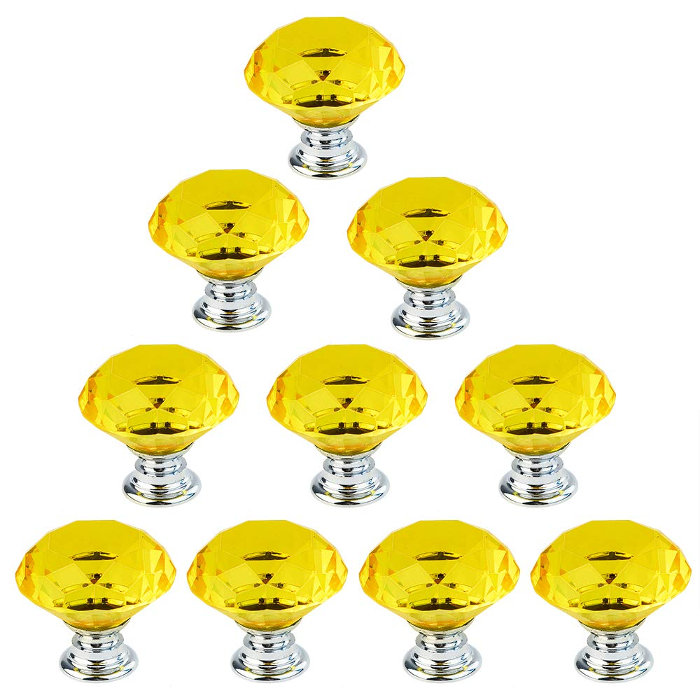 Dxhycc 10pcs 30mm Flat Round Crystal Glass Cabinet Knobs Cupboard Drawer Pull Handles Yellow