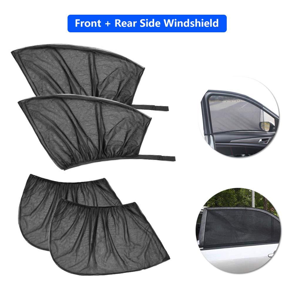 HIbuy Mesh Sun Shade for Car Window Mesh Shade Socks Front and Rear Windshield Breathable Mesh Sun Shield Full Window Cover