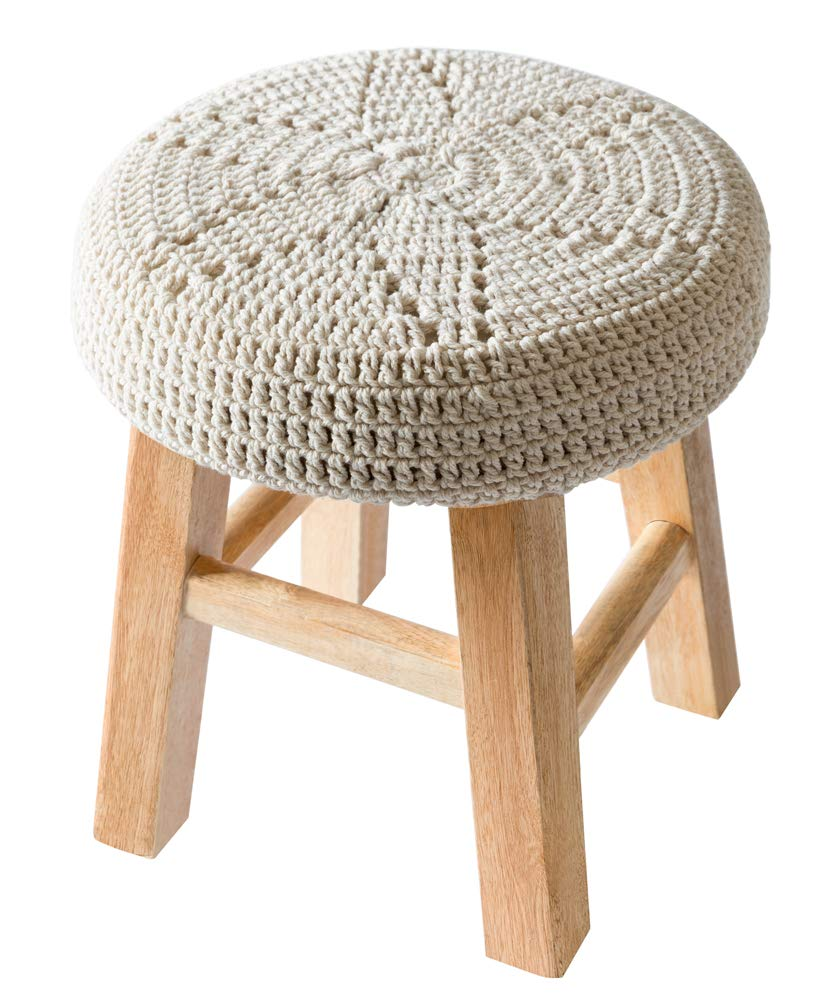 Mkono Wooden Children Stool Decorative Chair with Macrame Cover Cushion Boho Home Decor