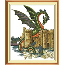 CaptainCrafts New Cross Stitch Kits Patterns Embroidery Kit - Dragon And Castle (WHITE)