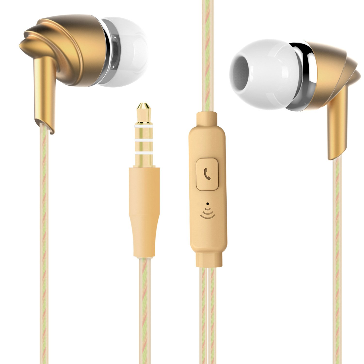 Licoers Headphones, Stereo Sound Headphones Wired Earphones in-Ear Earphones with Volume Control Earbuds with Mic for Mobile Phone PC MP3 4 Gold