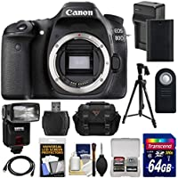 Canon EOS 80D Wi-Fi Digital SLR Camera Body with 64GB Card + Battery & Charger + Case + Flash + Tripod + Kit Overview Review Image