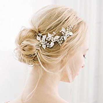 Amazon Com Barogirl Wedding Hair Pins Rose Gold Rhinestones Hair