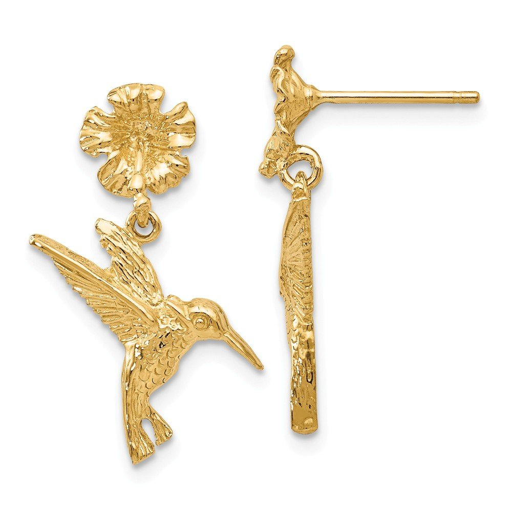 14k Yellow Gold Hummingbird Dangles From Flower Post Stud Earrings Drop Dangle Necklace Pendant Charm Bird Fine Jewelry Gifts For Women For Her by ICE CARATS