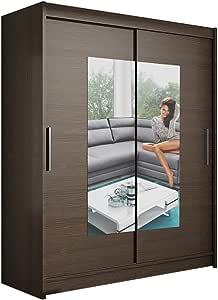 Ye Perfect Choice Armario moderno para dormitorio con espejo de 2 puertas correderas, diseño de Barbarossa III de 150 cm de ancho: Amazon.es: Hogar