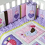 Brandream-Crib-Bedding-Sets-for-Girls-with-Bumpers-Purple-Floral-Owl-Elephant-Nursery-Bedding-Set8pcs