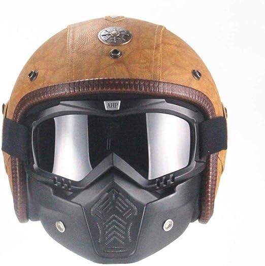 s, M, L, Xl, Xxl Harley Motorradhelm Pers/önlichkeit Retro Halbhelm Eingebaute Schutzbrille Dot Approved M/änner und Frauen Four Seasons Universal ZHXH Harley Helm