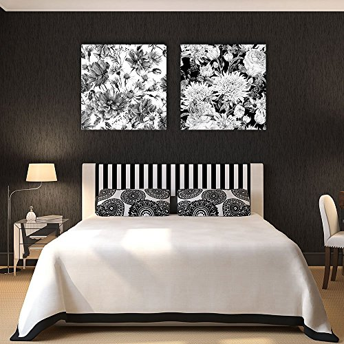 wall26-2 Panel Square Canvas Wall Art - Floral Pattern in Black and White - Giclee Print Gallery Wrap Modern Home Decor Ready to Hang - 16
