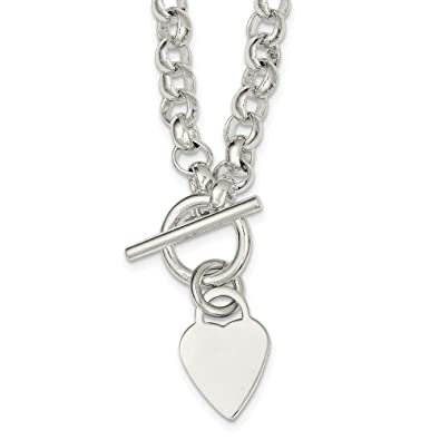 ca80c8a32 Amazon.com: Solid 925 Sterling Silver Engraveable Heart Disc on Fancy Link Toggle  Necklace Chain 18