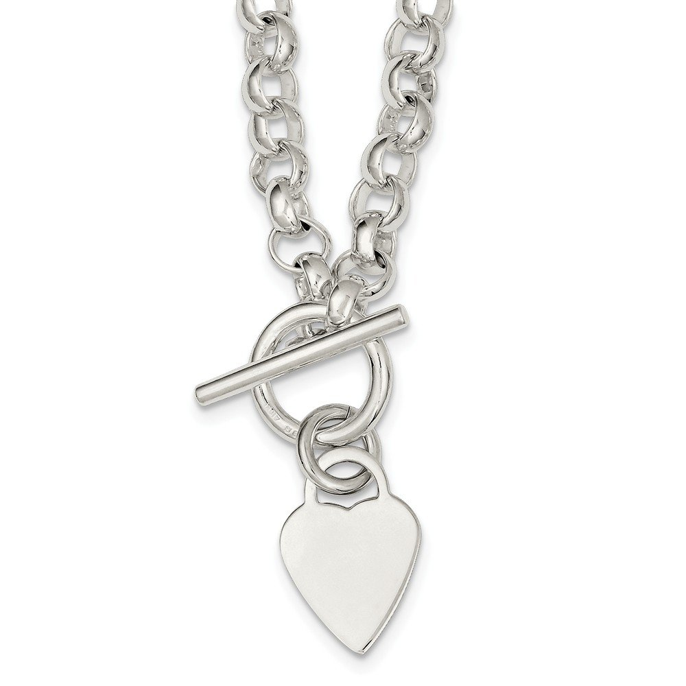 Solid 925 Sterling Silver Engraveable Heart Disc on Fancy Link Toggle Necklace Chain 18'' (7mm)