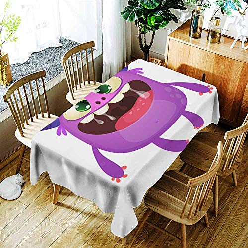 AGONIU Small Rectangular Tablecloth,Funny Cute Cartoon Monster Character Vector Illustration or Purple Monster Halloween Design,Dinner Picnic Table Cloth Home Decoration,W60X90L]()