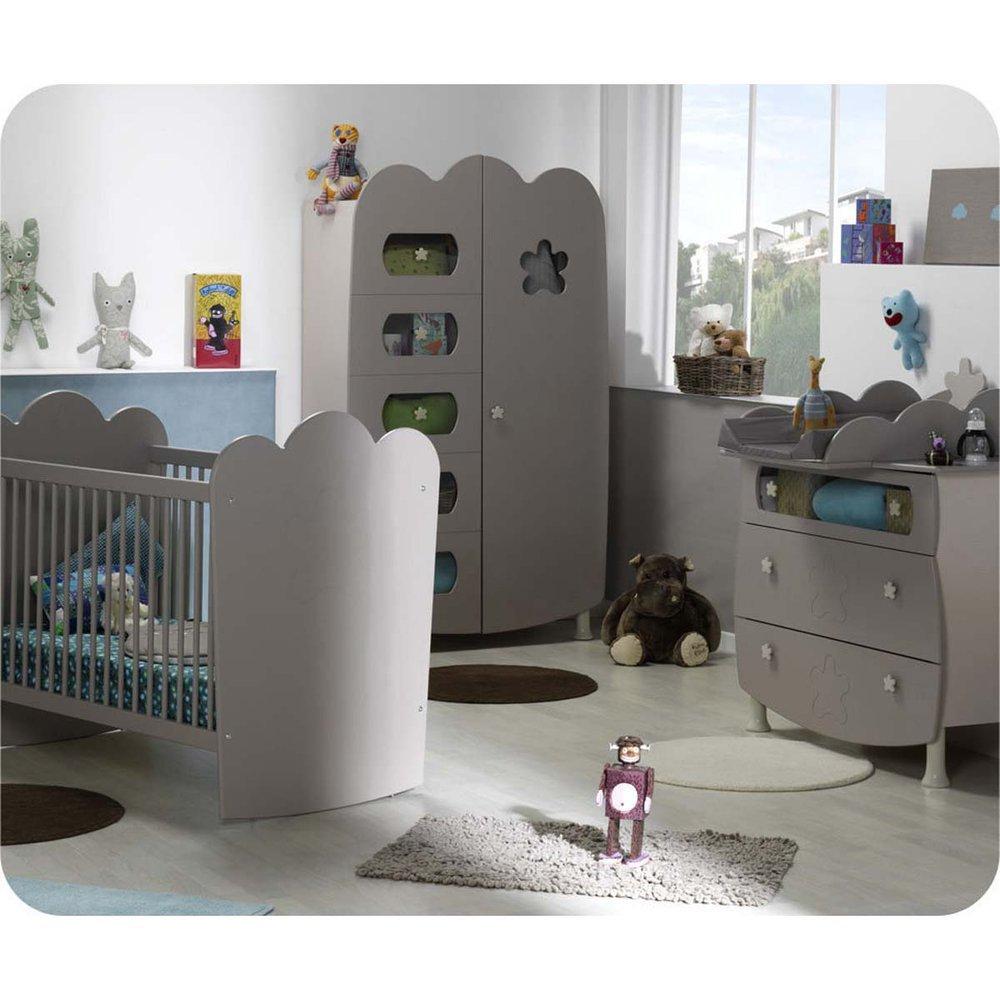Babyzimmer komplett Linea Lein Sand mit Gitterbettchen und Wickelfläche