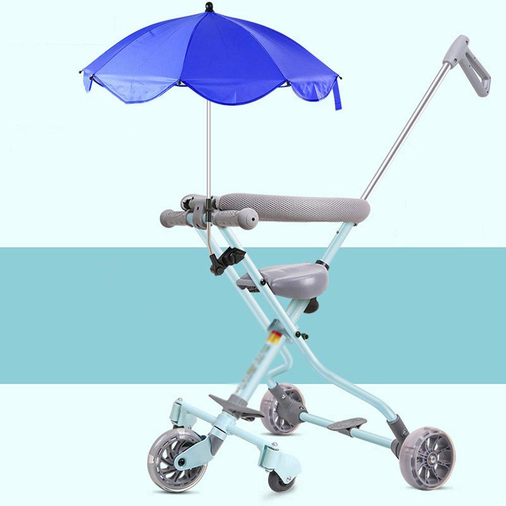 LVZAIXI 軽量折りたたみ自転車赤ちゃんベビートリクル14歳ベビー用3C認定子供用カート ( 色 : 青 ) B07CR2ZBXY  青