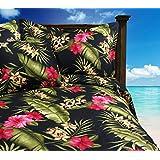 Tropical Comforter Set - Black Birds of Paradise - Bark Kahala King Comforter with Two King Shams