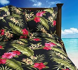 Tropical Bark Kahala Bedding - Queen / Full Black Tropical Flowers Duvet Cover with Shams by Dean Miller Tropical Bedding