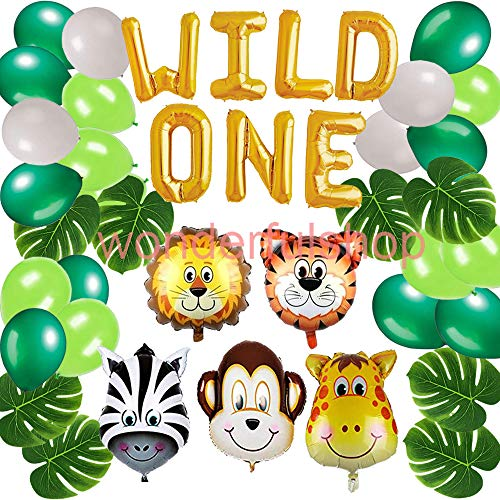 - Wild One Birthday Decorations Kit-WILD ONE Foil Balloon, Artificial Palm Leaves Animal Balloons Latex Balloons Pack for First Birthday Jungle Safari Party Decorations