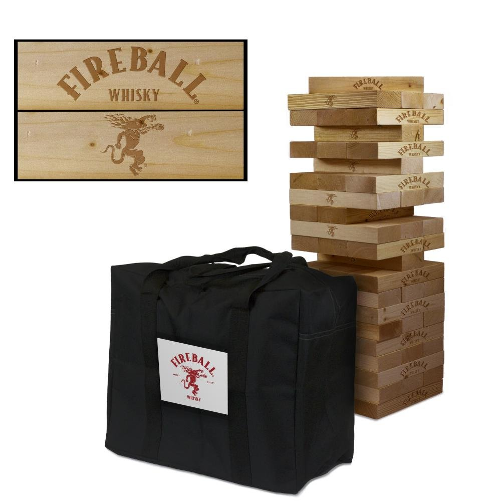 Fireball Whisky Wooden Tumble Tower Game by Victory Tailgate