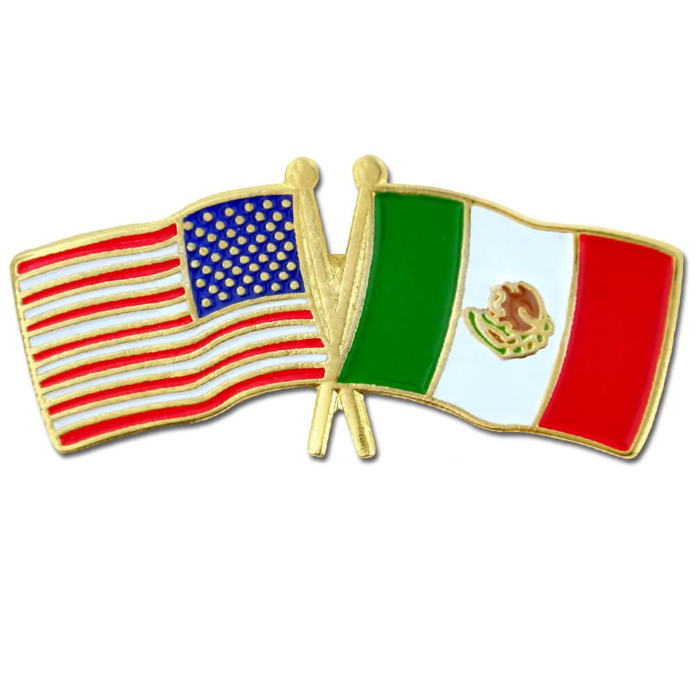 PinMart's USA and Mexico Crossed Friendship Flag Enamel Lapel Pin by PinMart