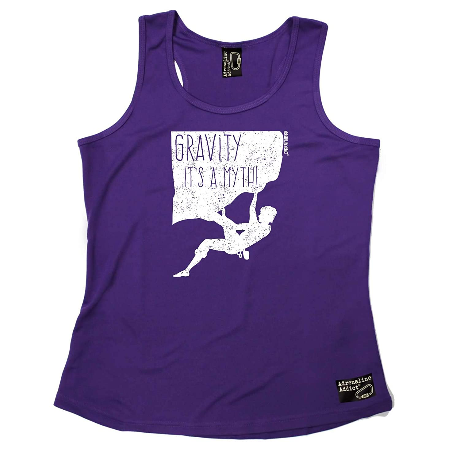 Adrenaline Addict Womens Rock Climbing Vest - Gravity is A Myth - Dry Fit Performance Vest Singlet