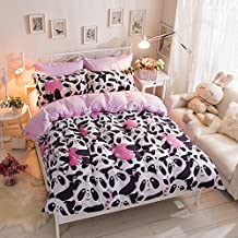 Polyester 4-piece Kids Cartoon Bedding Sets Panda Pattern Duvet Cover Set,1Duvet Cover,1Bed Sheet,2Pillow Shames Comforter No Included,Queen Size