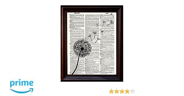 Amazoncom Dictionary Art Print Dandelion Flower Make A Wish In