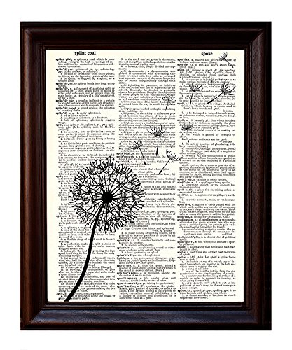 Dictionary Art Print - Dandelion Flower Make a Wish in the Wind Botanical Illustration- Printed on Recycled Vintage Dictionary Paper - 8.5x11 - Mixed Media Poster on Vintage Dictionary Page
