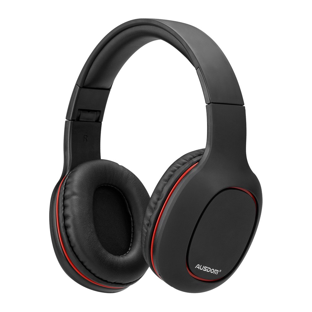 AUSDOM BlUETOOTH HEADSET M09, Support TF card broadcast, Built-in microphone. Apply to games, office, etc.(Black)