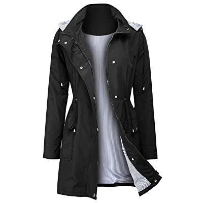 UUANG Raincoats Waterproof Rain Jacket Active Outdoor Detachable Hooded Women's Trench Coats: Clothing