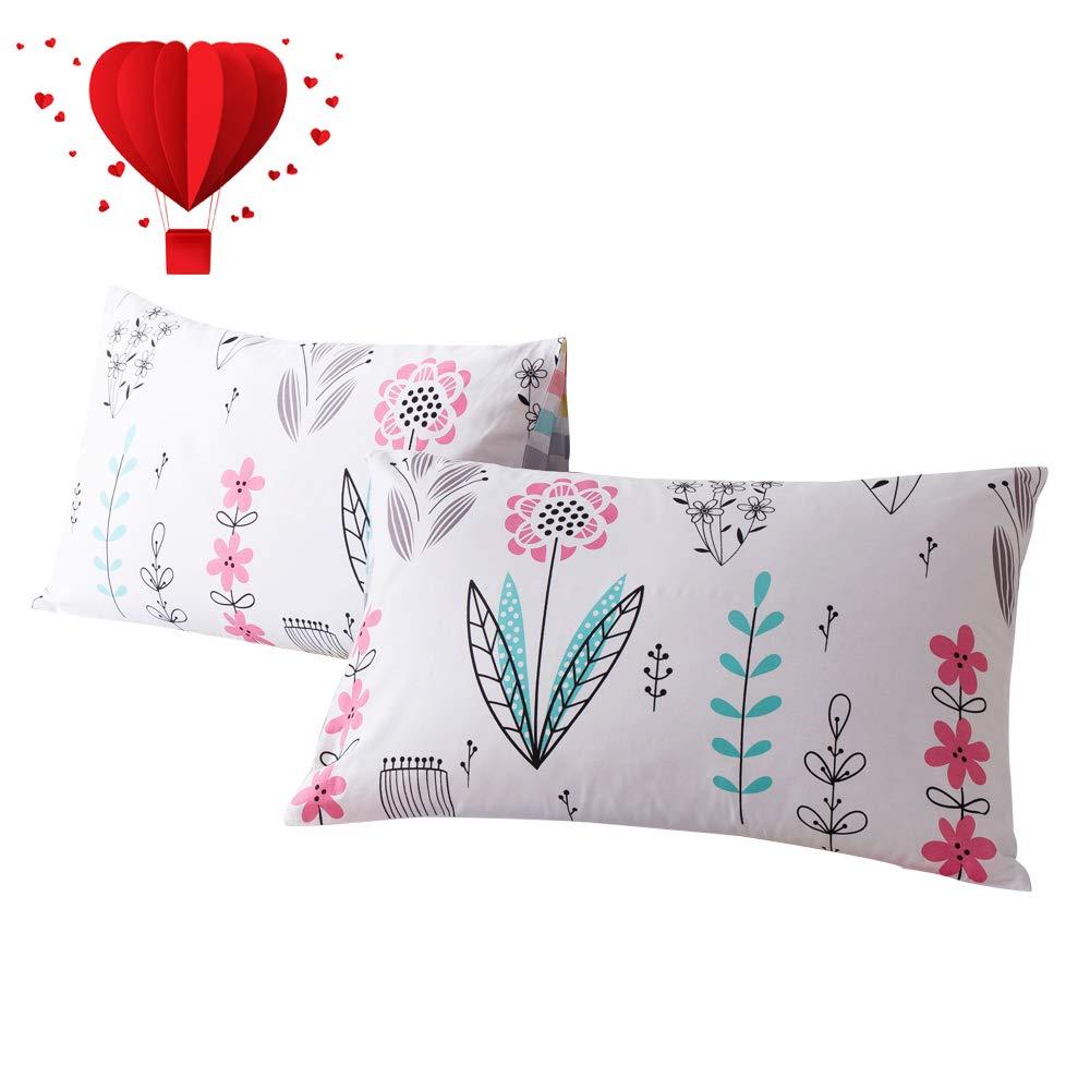BuLuTu Cotton Animal Bear Print Bed Pillowcases Set of 2 Queen White Reversible Cartoon Kids Pillow Covers Decorative Standard For Boys Girls Envelope Closure End-Premium,Ultra Soft 2 Pieces,20/×26