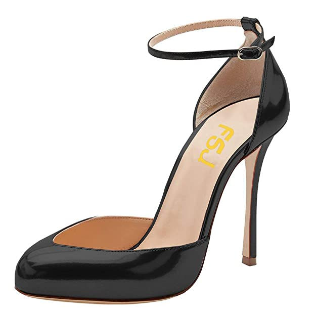 FSJ Women Fashion Almond Toe Ankle Strap D'Orsay Pumps High Heels Party Prom Sandals Size 14 Black