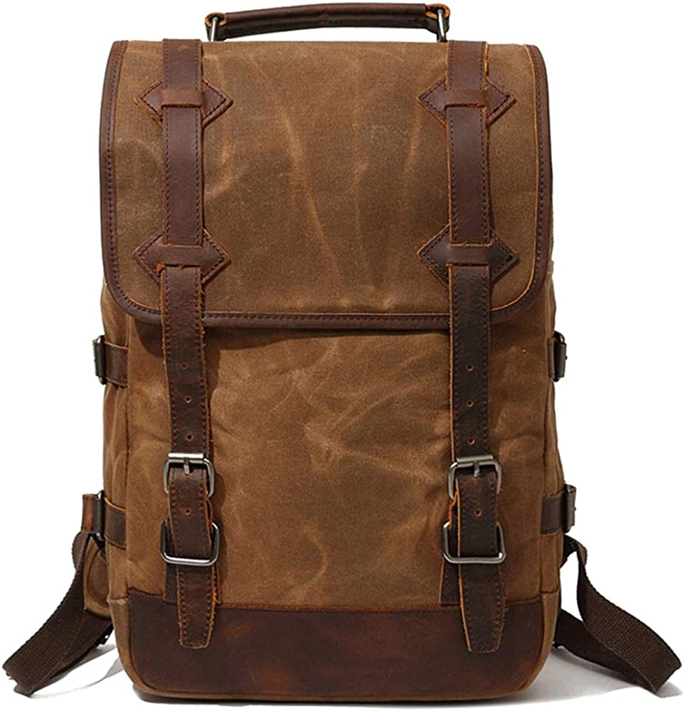 Sunsomen Men's Leather Waxed Canvas Vintage Laptop Backpack Campus Bag College Style Travel Rucksack Camping