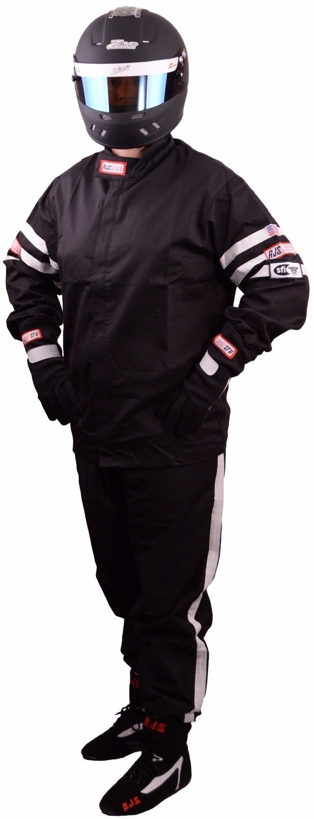 RJS Racing FIRE Suit Racing Jacket & Pants Black/White Stripe Adult 3X SFI 3.2A/1