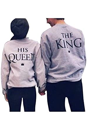 Pareja Sudadera A Juego Hombres Mujeres King Queen Pullover Pack: Amazon.es: Ropa y accesorios