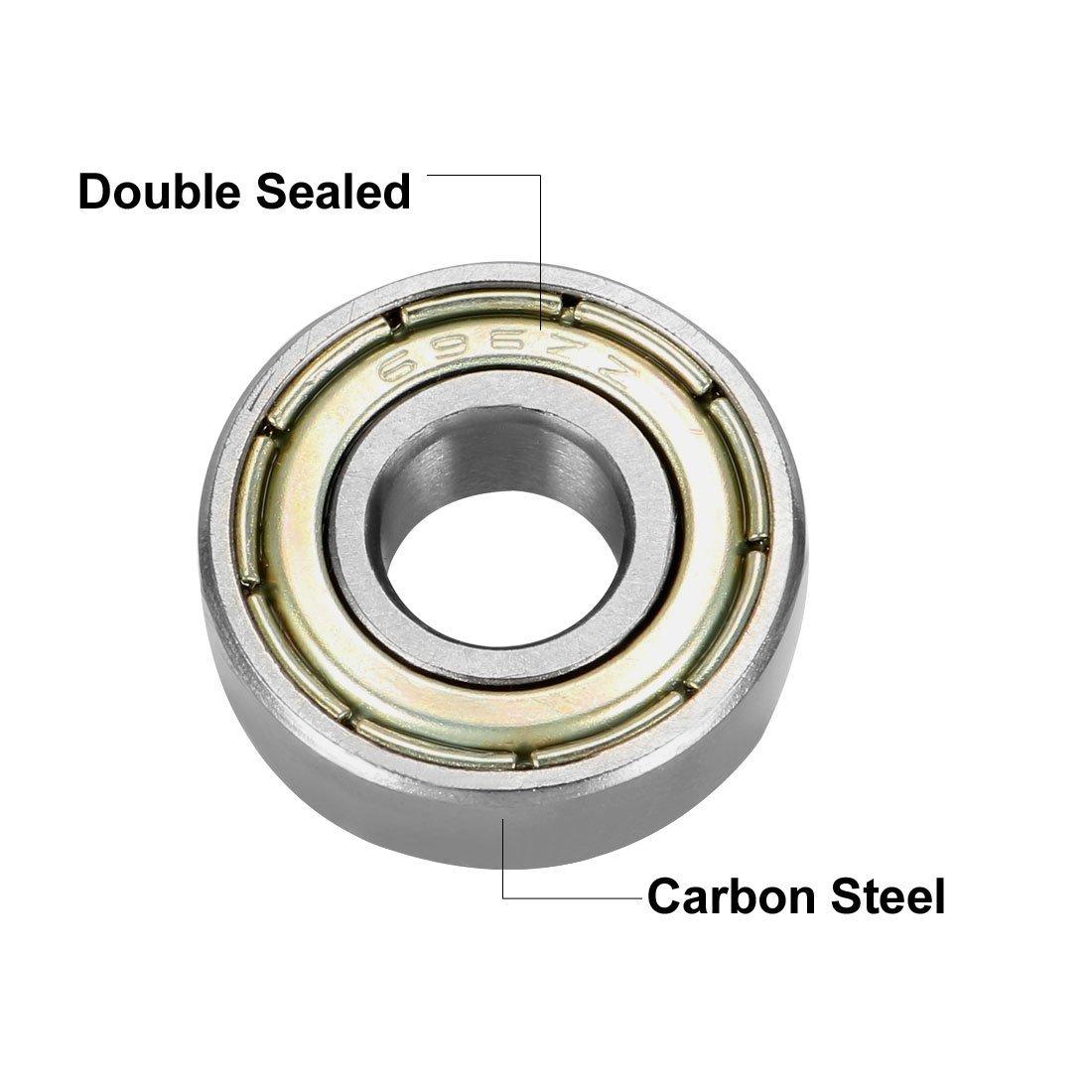 696ZZ Deep Groove Ball Bearings Double Shield 696-2Z 1080096 6 mm x 15 mm x 5 mm Carbon Steel Bearings Pack of 4