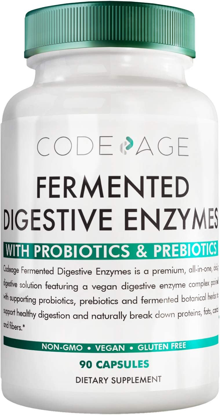 Codeage Fermented Digestive Enzymes Supplement - Probiotics, Prebiotics, Vitamins - Stomach & Food Enzyme - Amylase, Lipase, Lactase - Plant Based, Natural, Non-GMO - 3 Months Supply - 90 Capsules