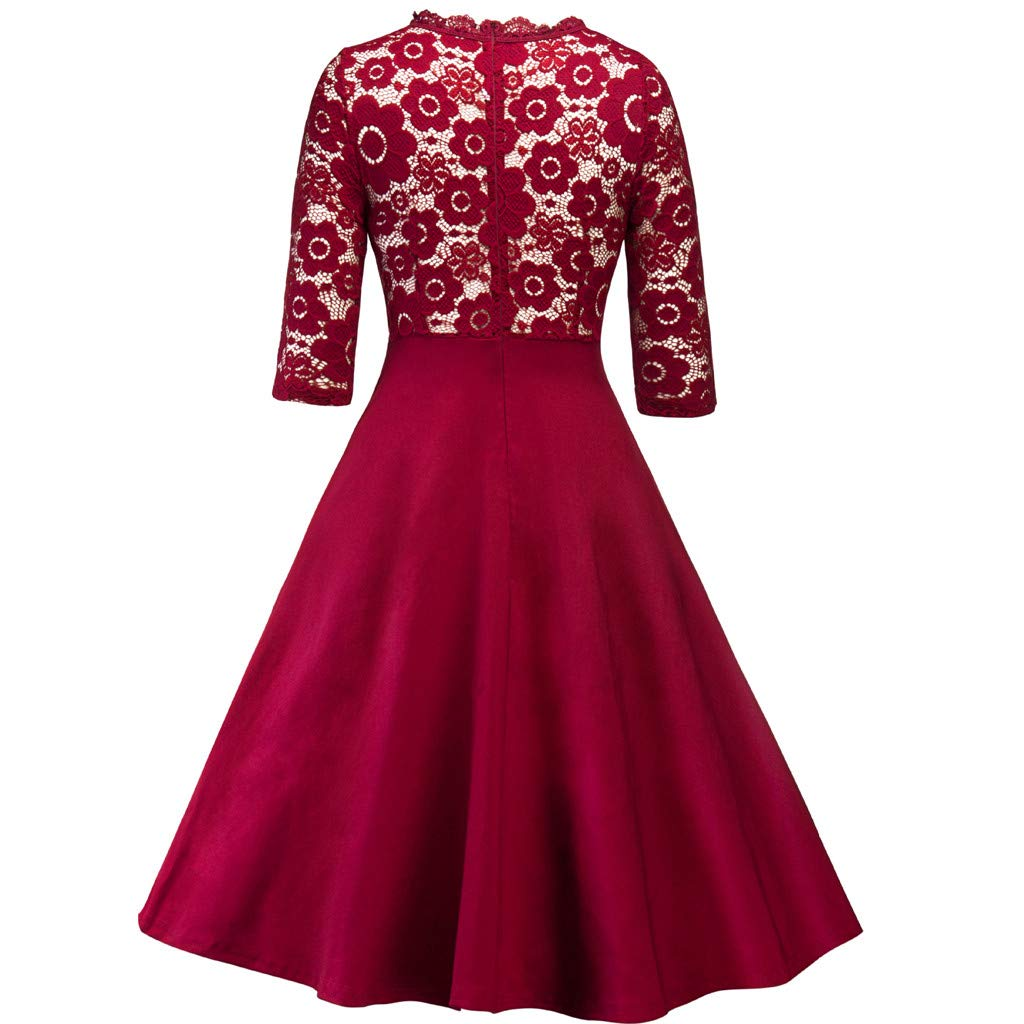 Women Swing Dress,New Vintage Lace Patchwork O Neck Party Cocktail Retro Skater Dresses by MEEYA