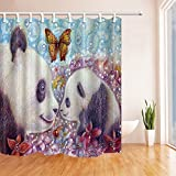 Animal Decor Shower Curtains By KOTOM Cute Pretty Panda Mom And Cub In Flower Oild Painting Bubble Background Bath Curtains, 72X72 Inches
