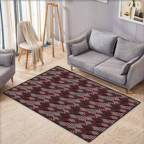 (Outdoor Patio Rug,Red and Black,Geometric Rectangle Frames Retro Patterns Polka Dots and Houndstooth,Rustic Home Decor,3'3