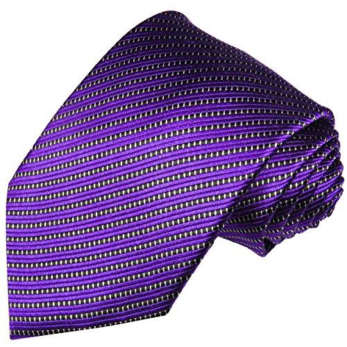 Cravate homme violet rayée 100% soie