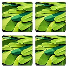 MSD Square Coasters IMAGE 28818044 Green paper background